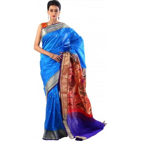 Woven Paithani Silk Saree  (Blue, Red)