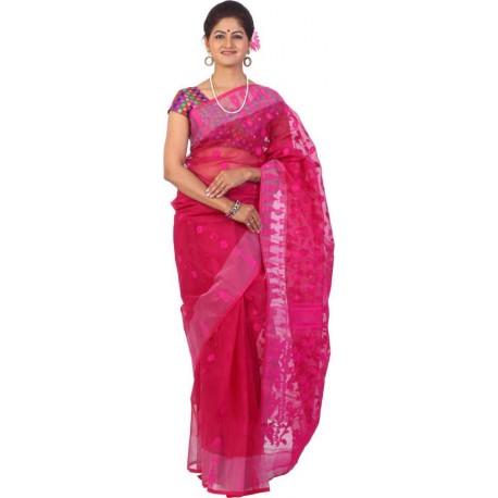 Woven Jamdani Cotton Saree  (Pink)
