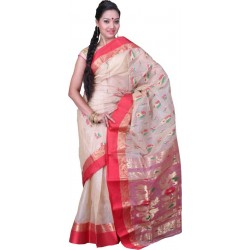 Woven Garad Silk Saree  (Red, Gold)