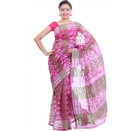 Woven Jamdani Cotton Saree  (Magenta, Green)
