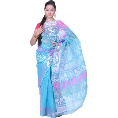 Woven Jamdani Cotton Saree  (Blue, Pink, White)