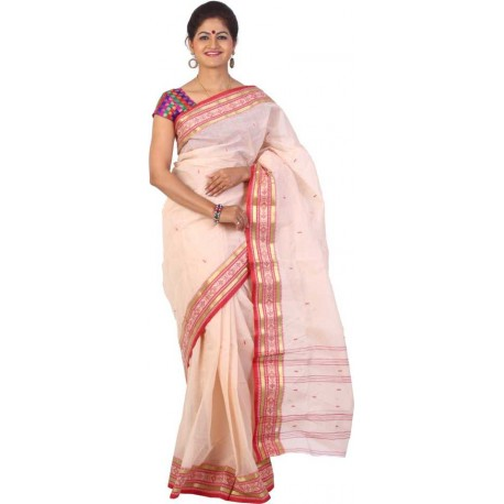 Woven Tant Cotton Saree (Beige, Red)