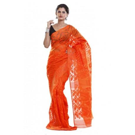 Self Design Jamdani Cotton Saree (Orange)