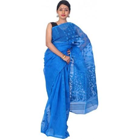 Woven Jamdani Cotton Saree (Blue)