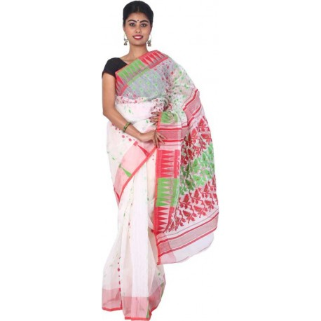 Woven Jamdani Cotton Saree (Red, White, Green)