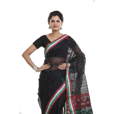 Woven Tant Cotton Saree (Black, Red)