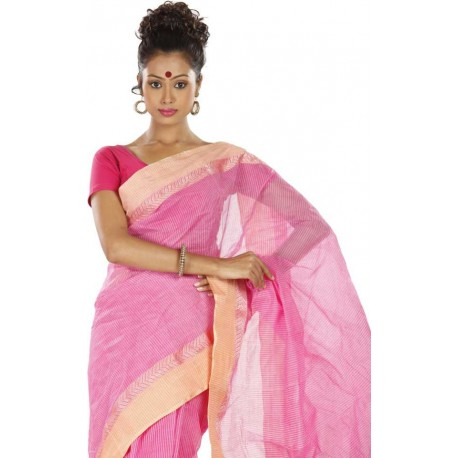 Woven Tant Cotton Saree (Pink)