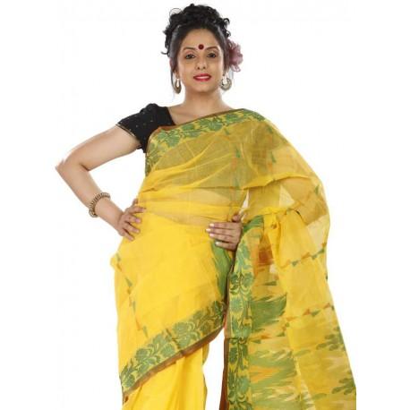 Woven Tant Cotton Saree (Yellow, Green)