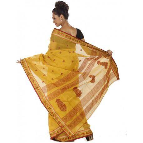 Woven Tant Cotton Saree  (Yellow)