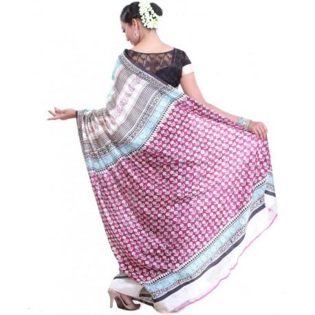 Printed Murshidabad Silk Saree (Multicolor)