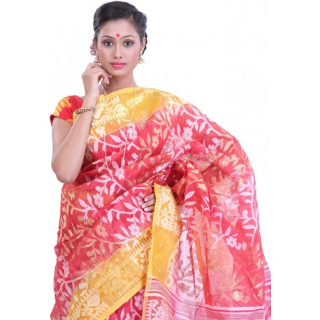 Woven Jamdani Cotton Saree (Multicolor)