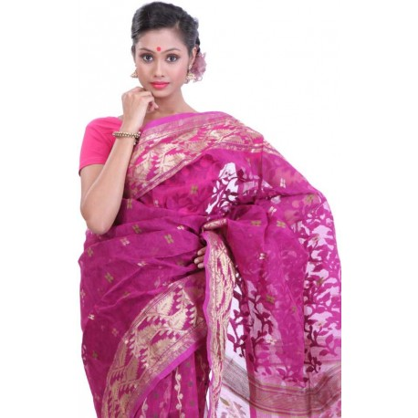 Woven Jamdani Cotton Saree (Pink, Gold)