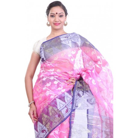 Woven Jamdani Cotton Saree (Pink, Blue)