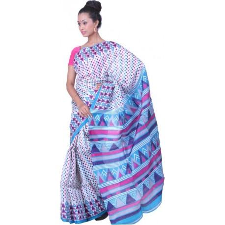 Printed Murshidabad Silk Saree (Blue, Pink)