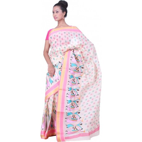 Printed, Embroidered Cotton Saree (Pink, Blue)