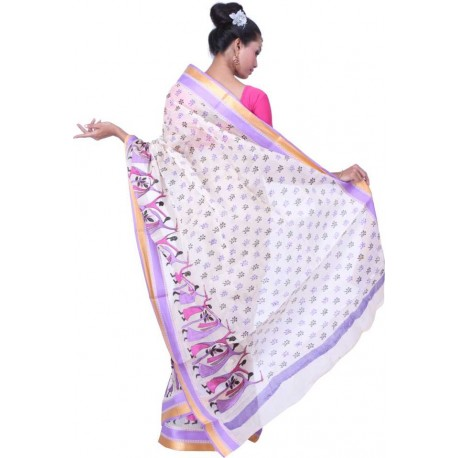 Printed, Embroidered Cotton Saree (Purple, Pink, White)