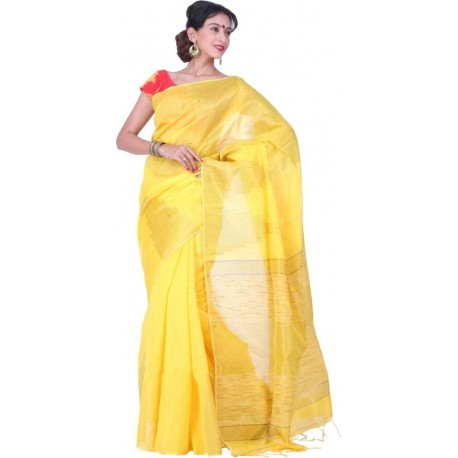 Woven Fashion Silk Cotton Blend Saree (Yellow)