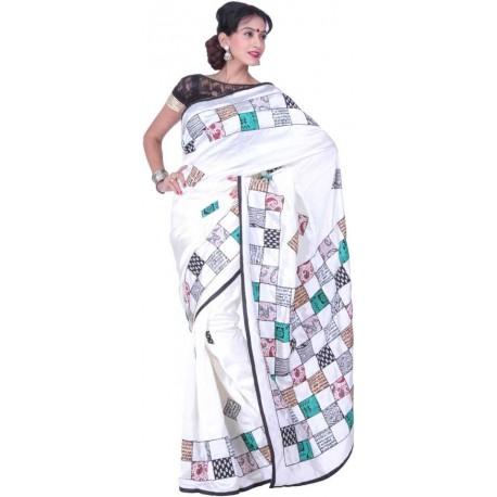 Applique Bhagalpuri Silk Saree (Multicolor)