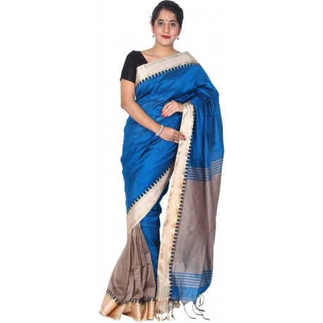 Woven Fashion Cotton Silk Saree (Blue)