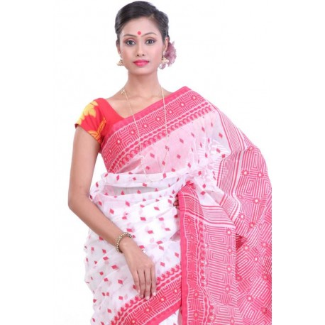 Woven Jamdani Cotton Saree (Multicolor)