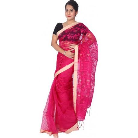 Woven Jamdani Silk Cotton Blend Saree (Magenta)