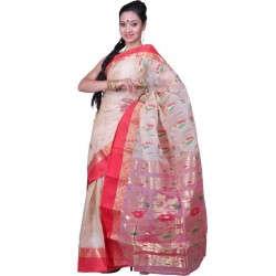Woven Garad Silk Saree  (Red, Gold)