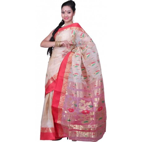 Woven Silk Saree  (Red, Gold)