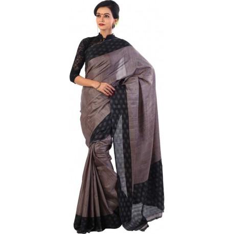 Woven Fashion Jute Saree  (Grey, Black)