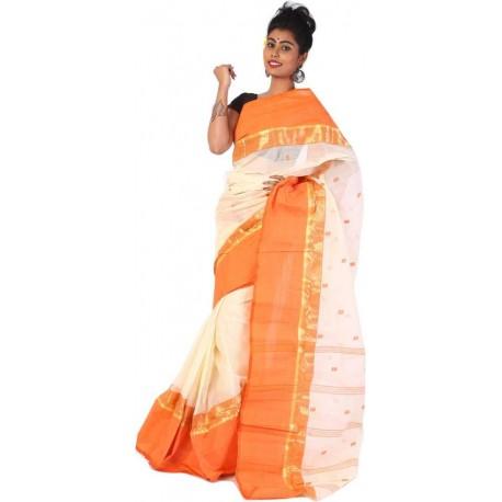 Woven Tant Cotton Saree (Orange)