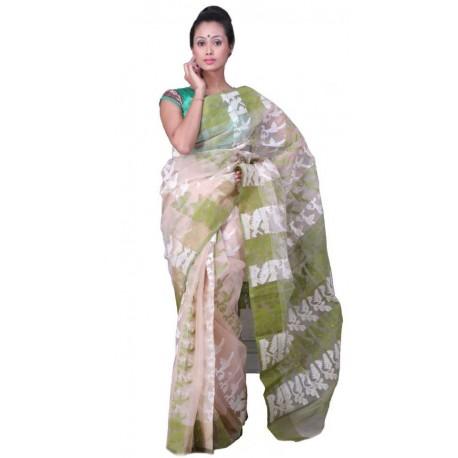 Woven Jamdani Cotton Saree (Beige, Green, White)
