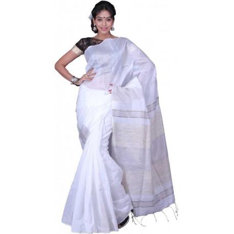 Woven Fashion Polycotton Saree  (White)