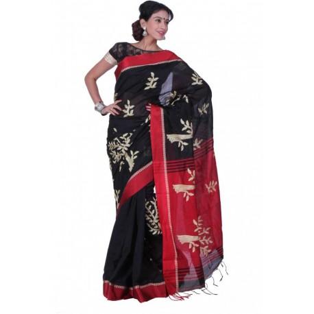 Embroidered Fashion Silk Cotton Blend Saree  (Black, Red)