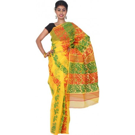 Woven Jamdani Yellow, Red, Green Cotton Saree  (Yellow, Red, Green)