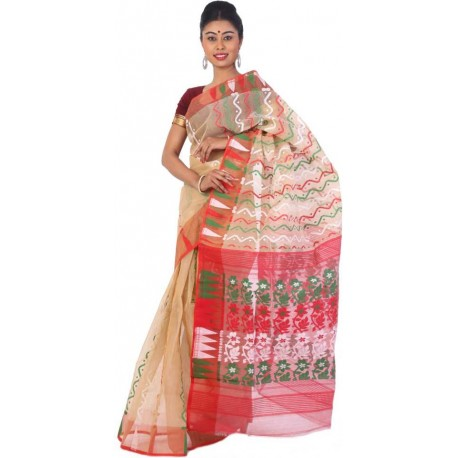 Woven Jamdani Multicolor Cotton Saree  (Multicolor)