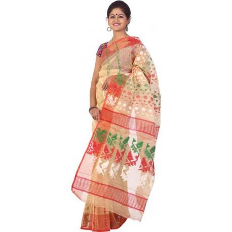 Woven Jamdani Beige, Red, Green Cotton Saree  (Beige, Red, Green)