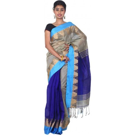 Woven Fashion Grey, Blue Cotton Silk Saree  (Grey, Blue)