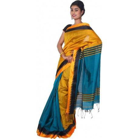 Woven Fashion Blue, Yellow Cotton Silk Saree  (Blue, Yellow)