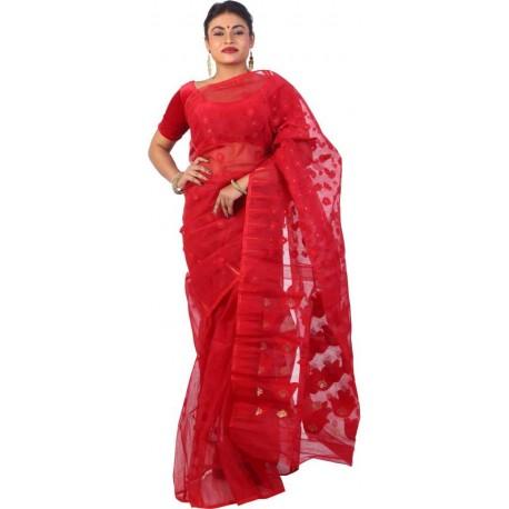 Woven Jamdani Maroon Cotton Saree  (Maroon)