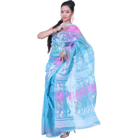 Woven Jamdani Blue, Pink, White Cotton Saree  (Blue, Pink, White)