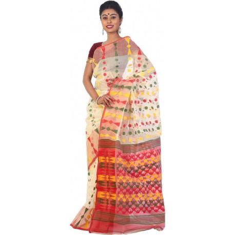 Woven, Printed Jamdani Beige Cotton Saree  (Beige)