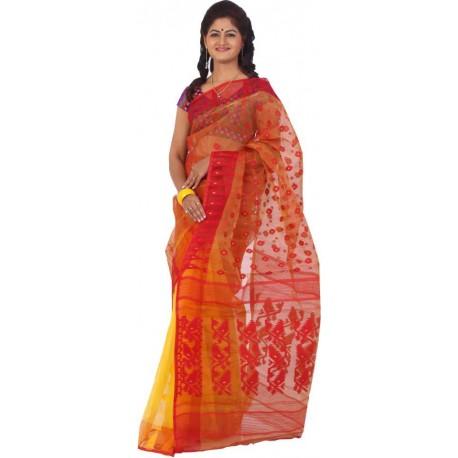 Woven Jamdani Yellow, Red Cotton Saree  (Yellow, Red)