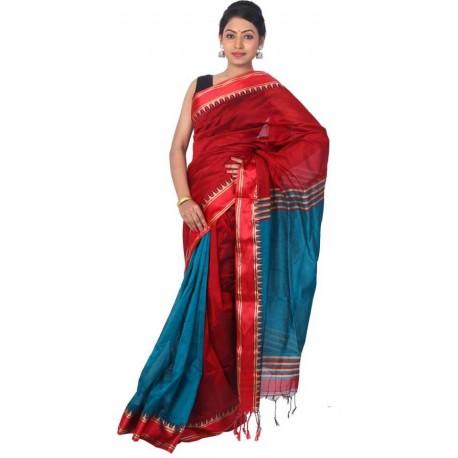 Woven Fashion Maroon, Blue Cotton Silk Saree  (Maroon, Blue)