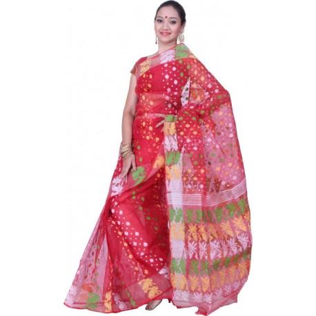 Woven Jamdani Red, Green, White Cotton Saree  (Red, Green, White)