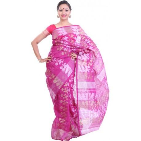 Woven Jamdani Pink Cotton Saree  (Pink)