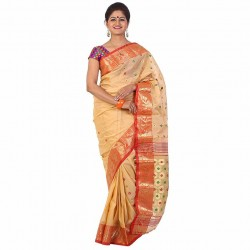 Beige & Red Tant Saree