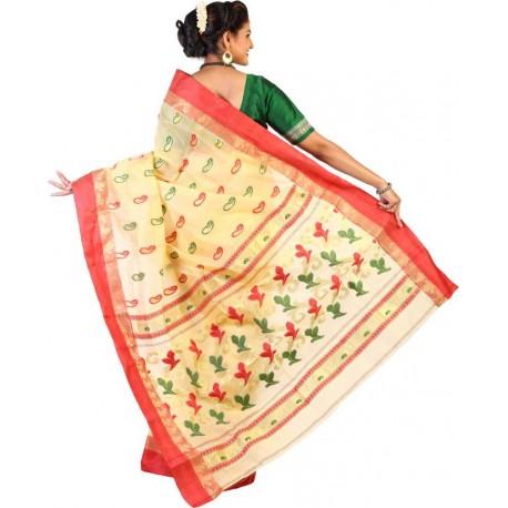 Woven Handloom Tussar Silk, Cotton Saree