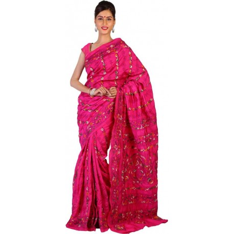 Embroidered Kantha Art Silk, Art Silk Saree