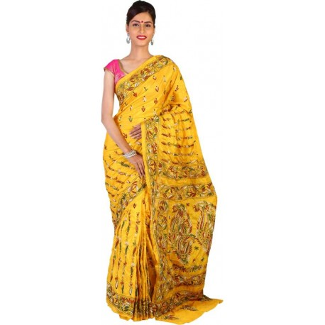 Embroidered Kantha Art Silk Saree