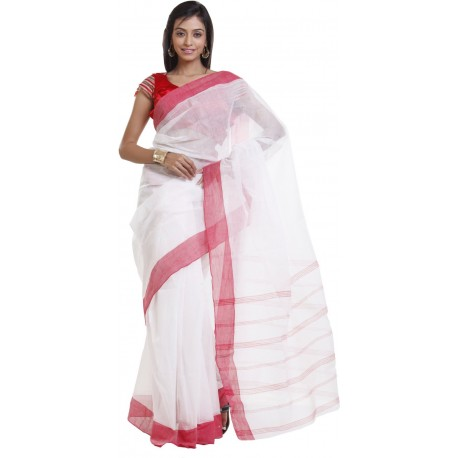 Woven Tant Cotton Saree  (Red, White)