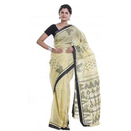 Sanrocks Global Fashions Woven Jamdani Cotton Saree  (Beige, Black)